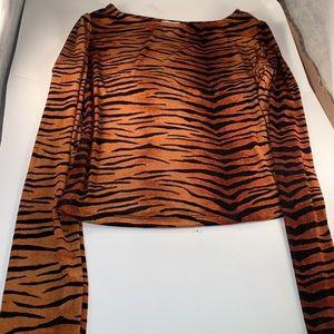 Brown and Black Tiger Stripe Longe sleeve Top S:S